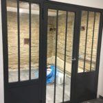 porte verrière pour cave verre et métal